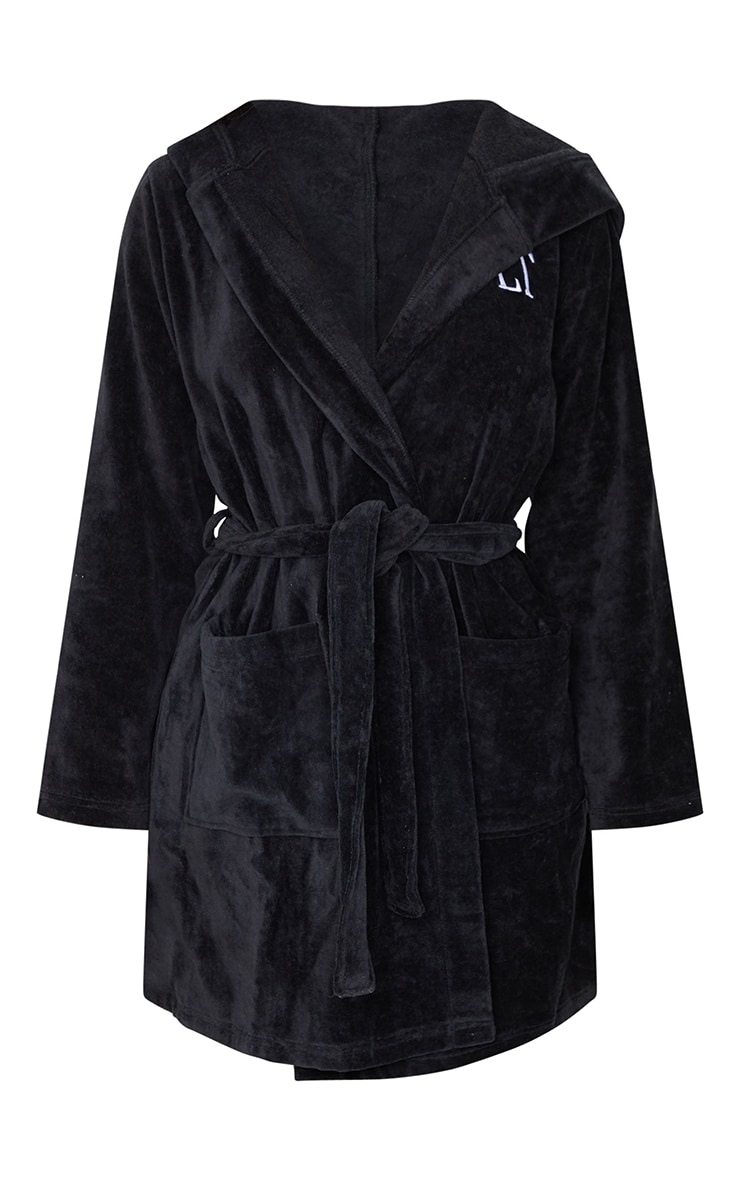PRETTYLITTLETHING Black Hood Detail Towelled Dressing Gown 5