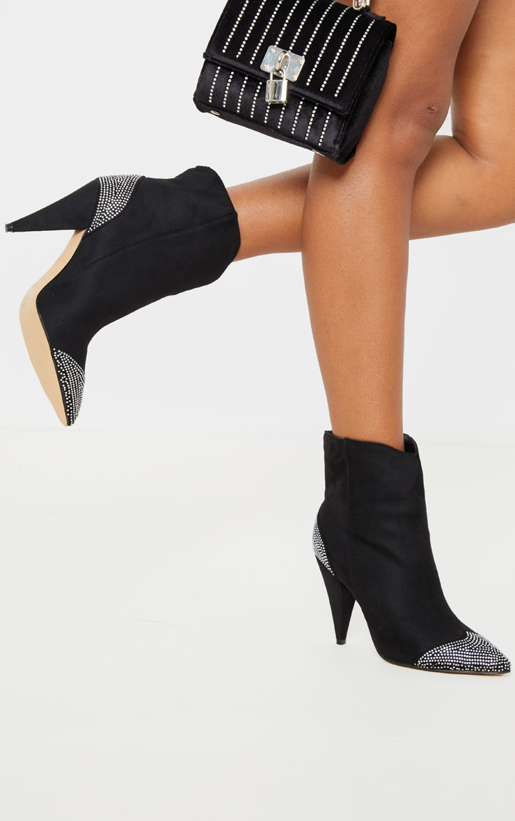Black Diamante Toe Cone Heel Ankle Boot 2