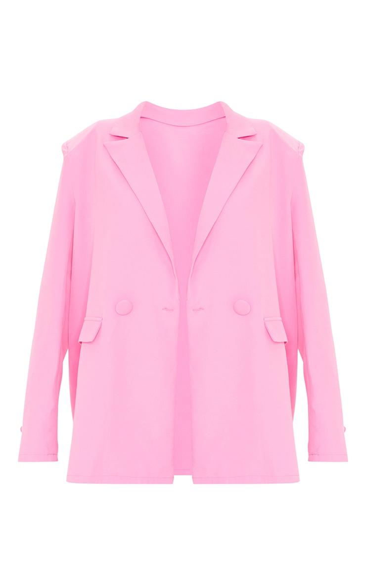 Candy Pink Woven Button Sleeve Detail Blazer 5