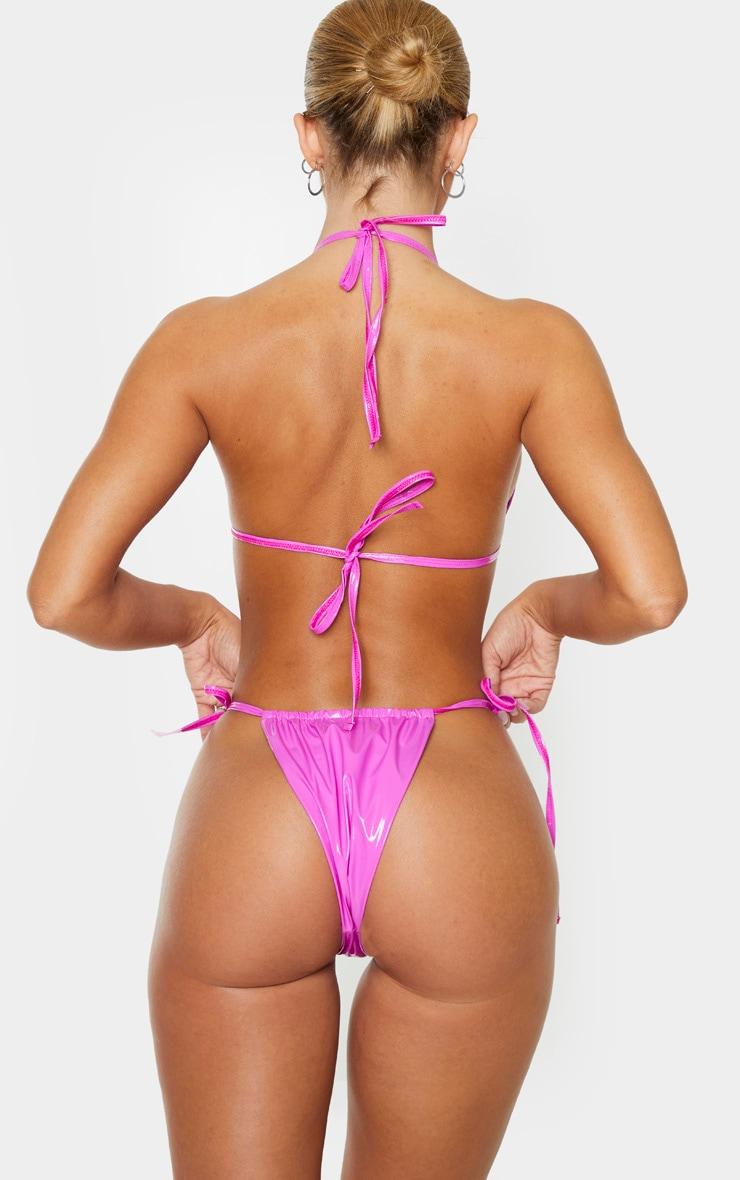 Fuchsia Vinyl Adjustable Tie Side Bikini Bottom 3