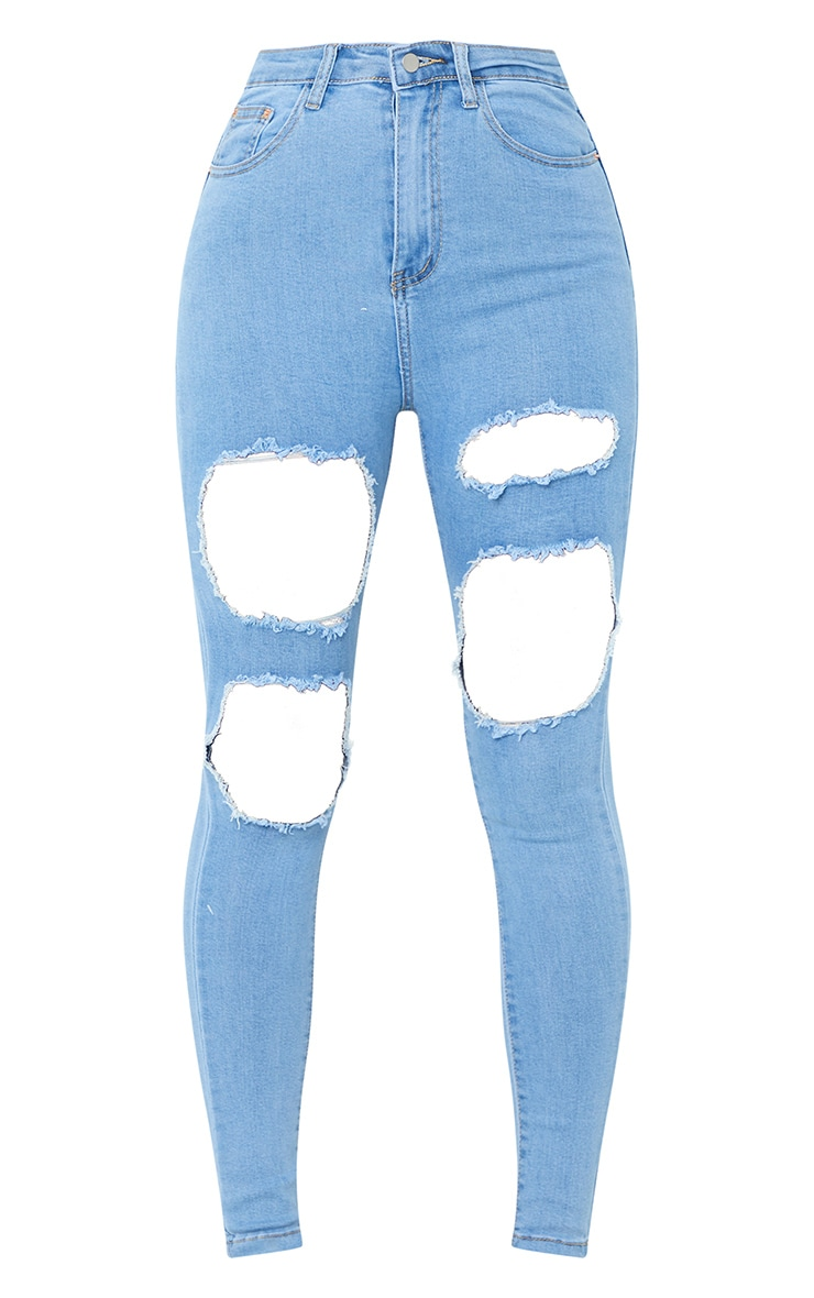 PRETTYLITTLETHING Light Wash Open Thigh Ripped 5 Pocket Skinny Jeans 5