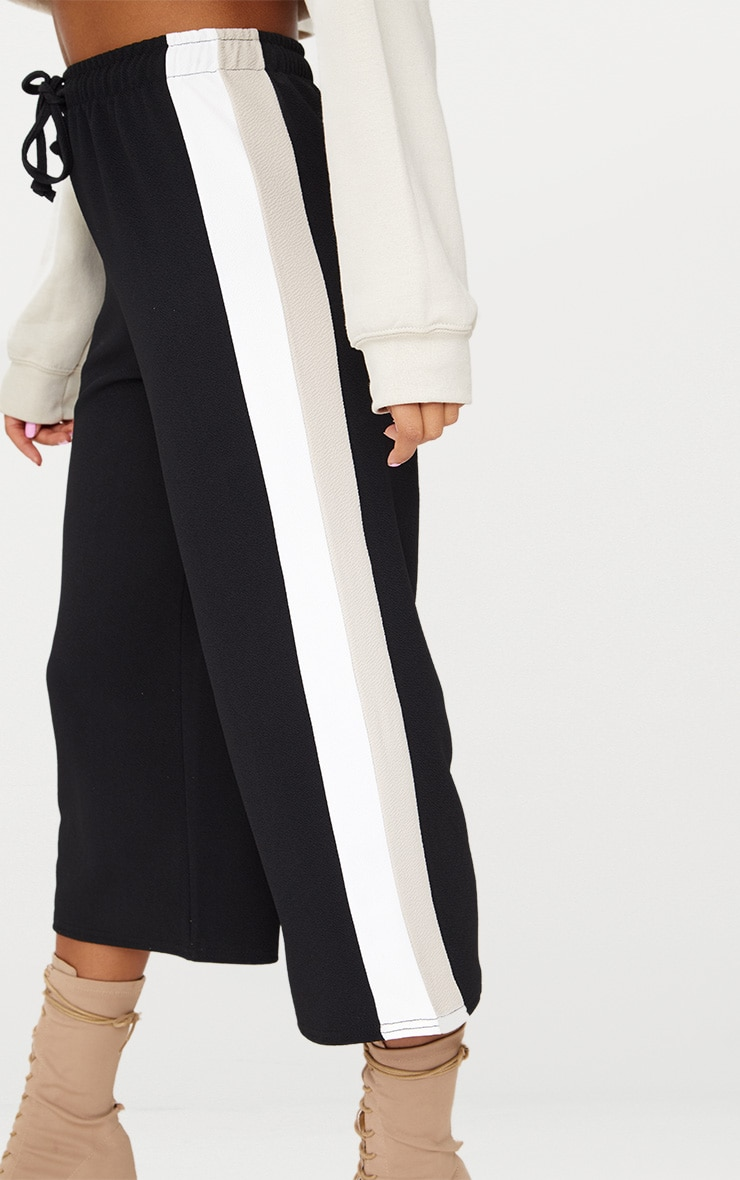 Black Side Stripe Drawstring Culottes 5