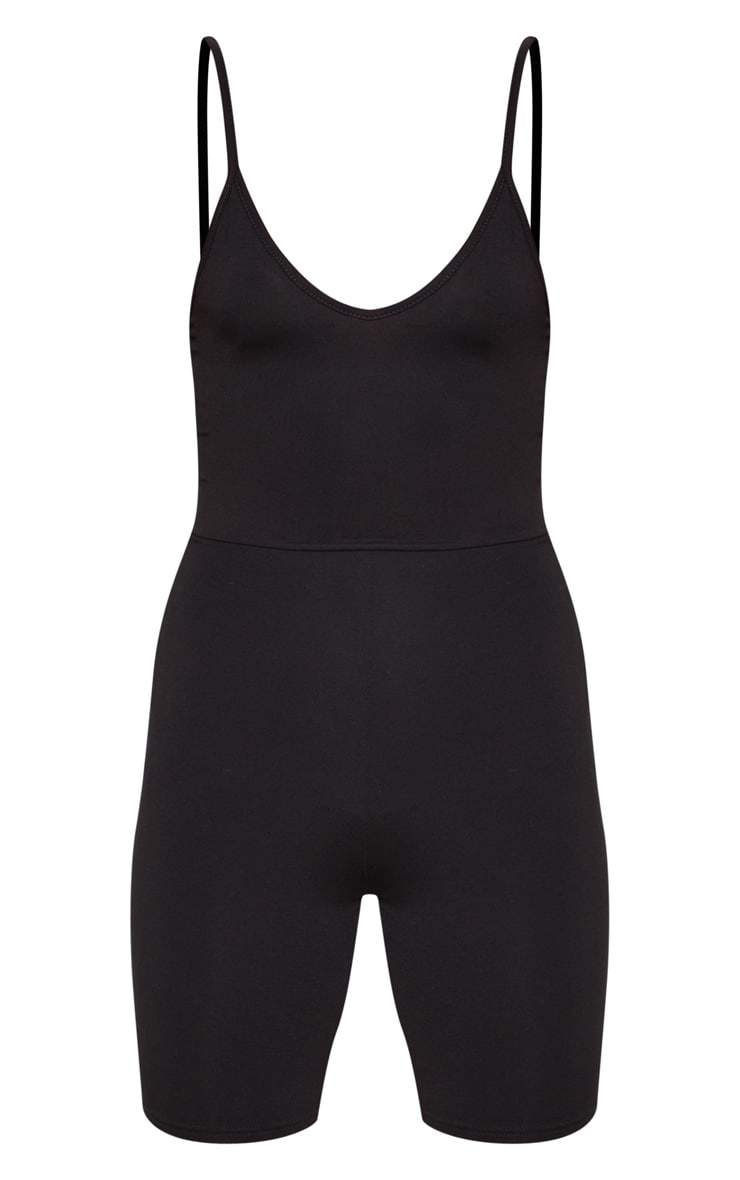 Black Basic Strappy Plunge Unitard 3