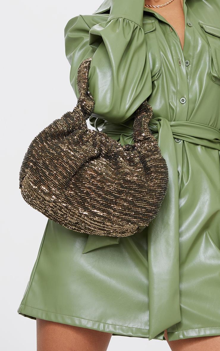 Gold Sequin Ruched Handle Bag 1