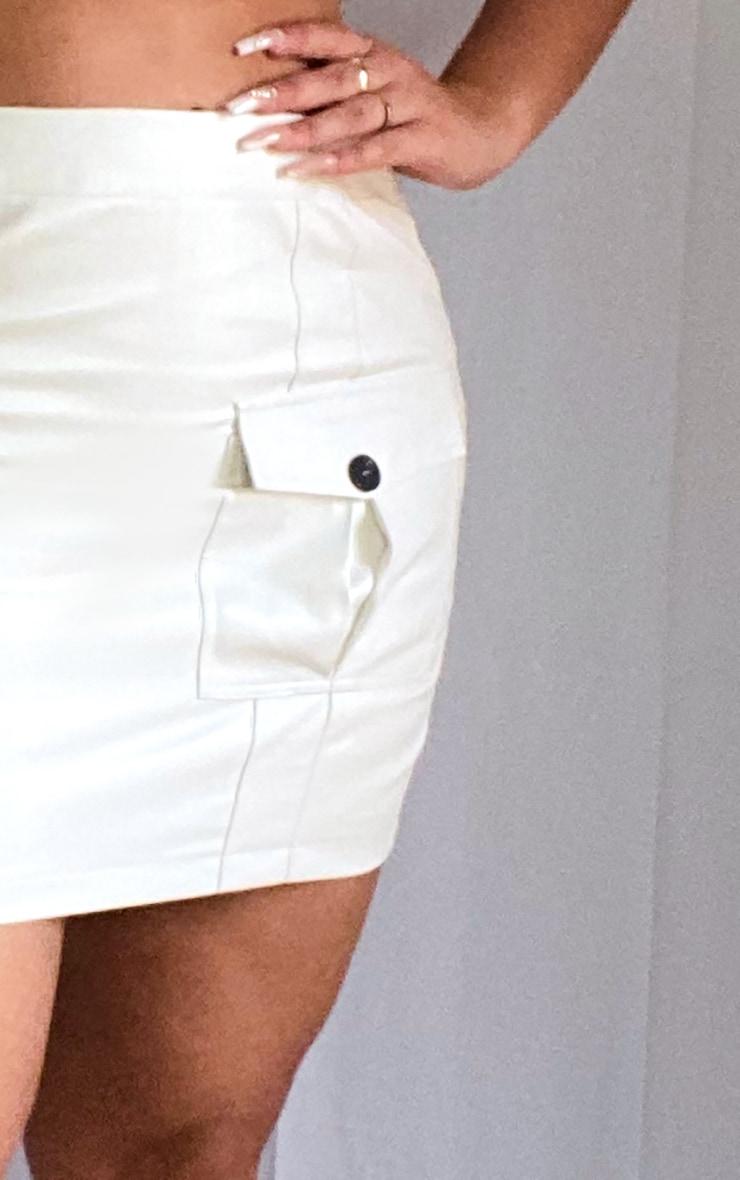 Plus Cream Faux Leather Cargo Pocket Front Mini Skirt 5