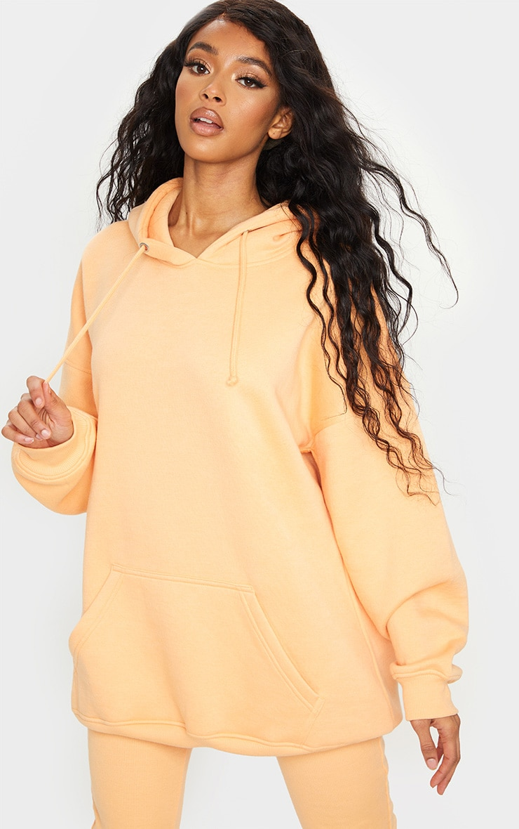 Peach Oversized Pocket Front Drawstring Hoodie 1