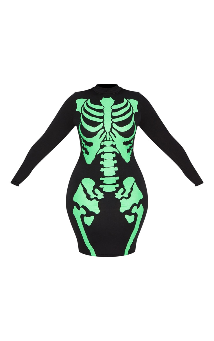 Plus Black Neon Skeleton Print Long Sleeve Midi Dress 3