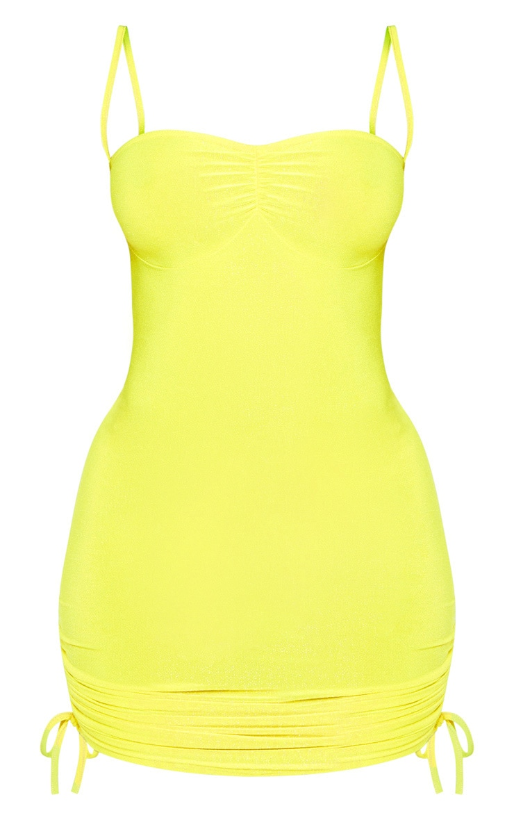 Shape Neon Yellow Glitter Ruched Detail Strappy Bodycon Dress 3