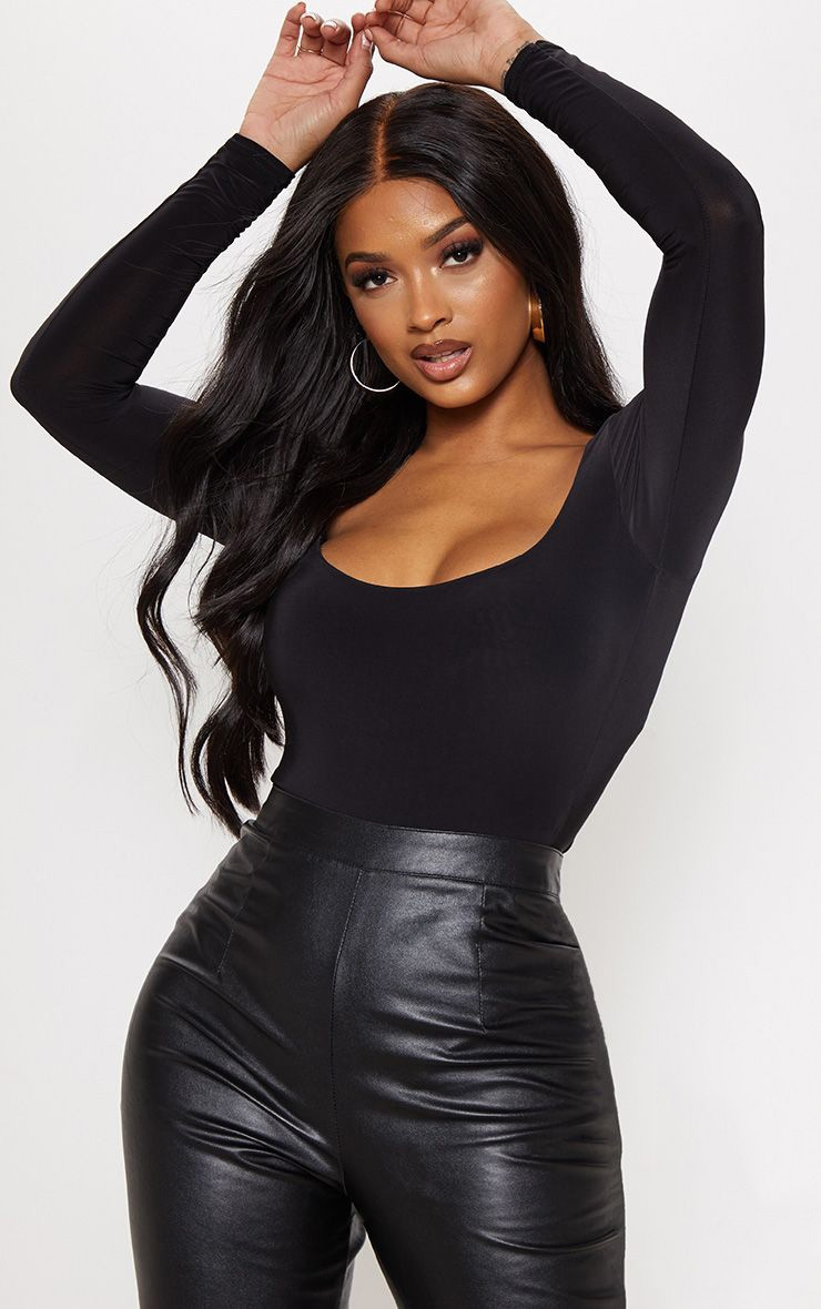 Shape Black Slinky Scoop Neck Bodysuit 1