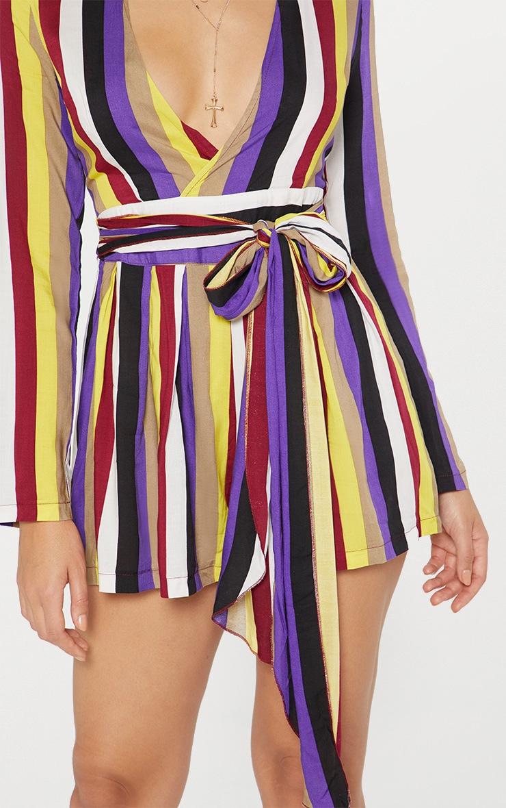 Purple Stripe Long Sleeve Tie Waist Playsuit 4