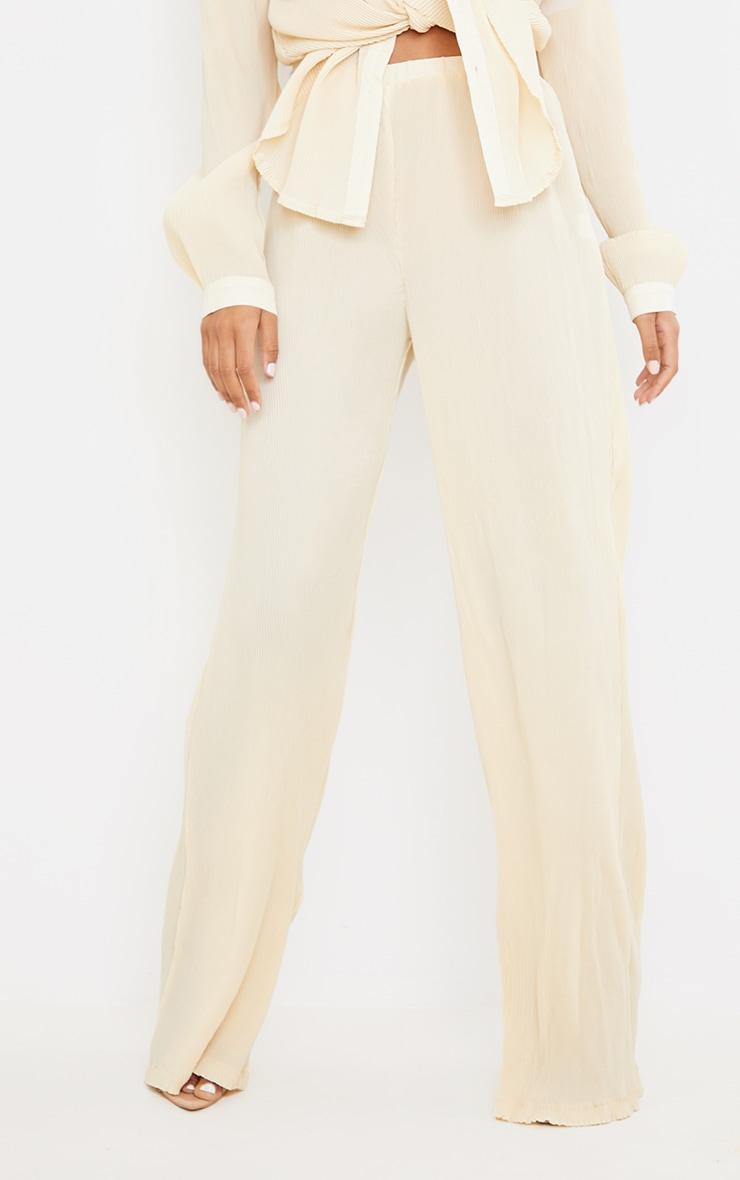 Tall  Cream Plisse Highwaisted Wide Leg Trousers 2