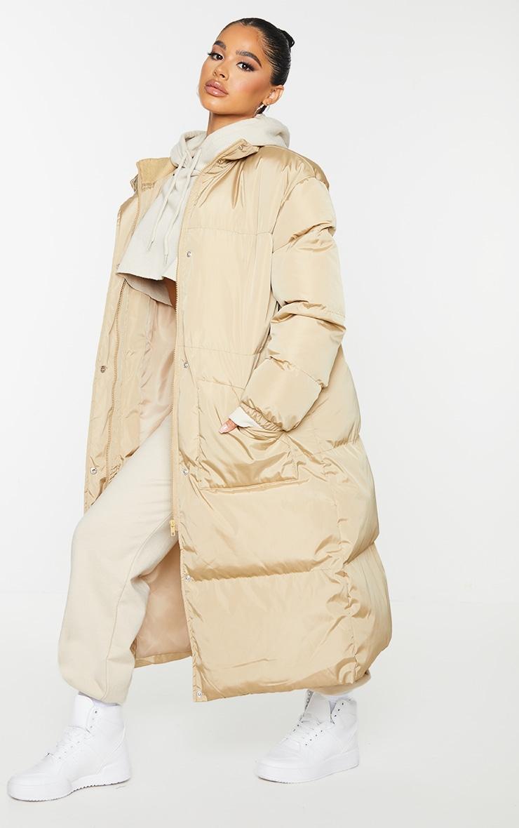 Petite Camel Maxi Puffer Coat 3