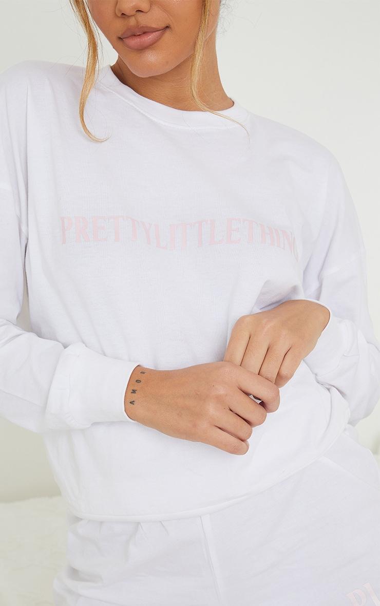 PRETTYLITTLETHING White Bold Pink Logo Shorts Lounge Set 4