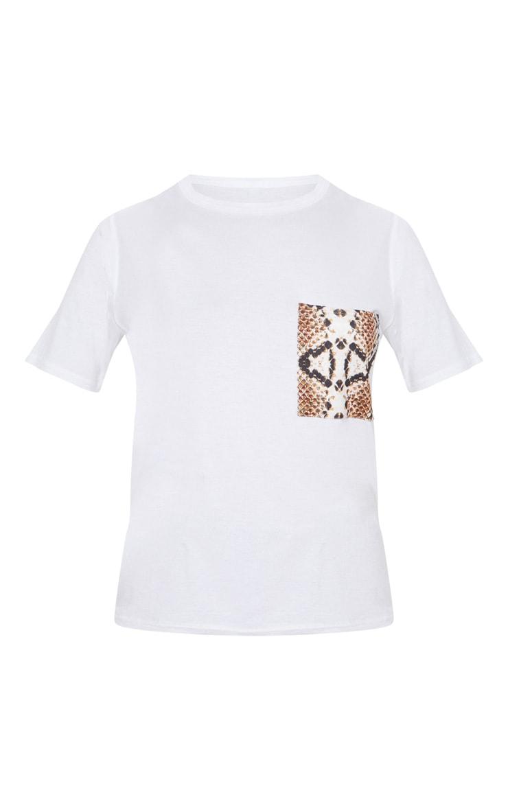 White Snake Print Pocket T shirt 2