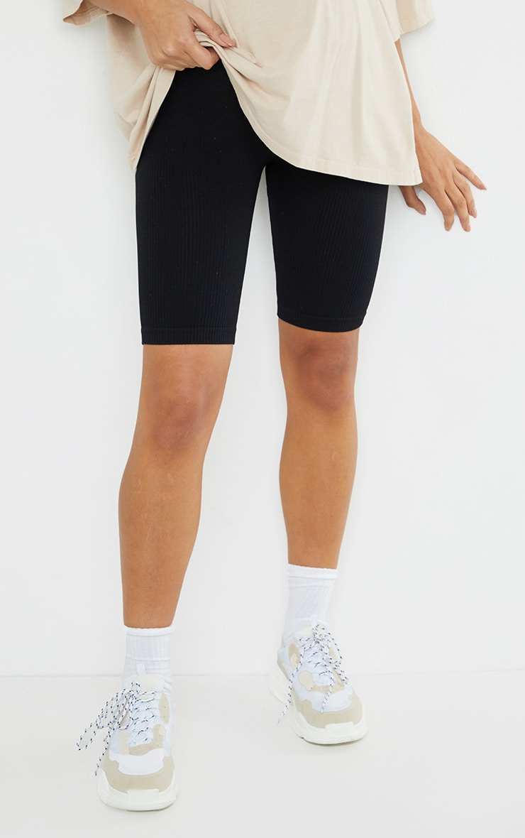 Maternity Black Structured Contour Rib Cycle Shorts 2