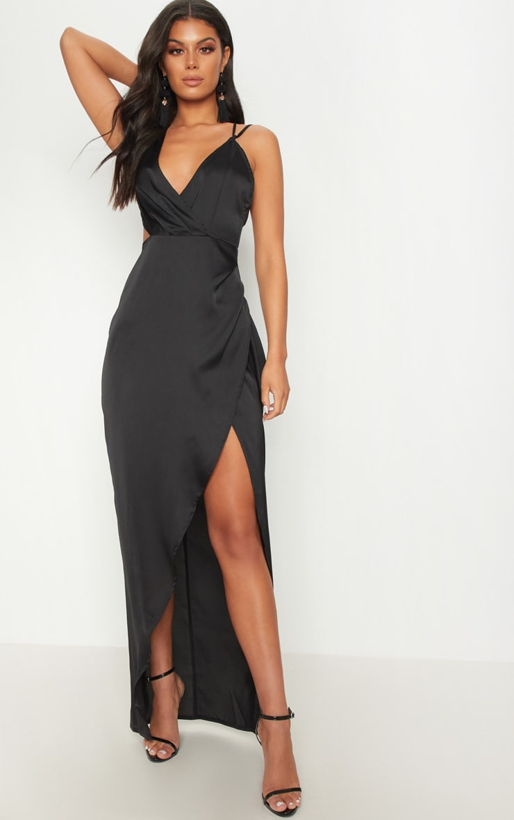 Black Asymmetric Sleeve Cut Out Split Leg Maxi Dress  1