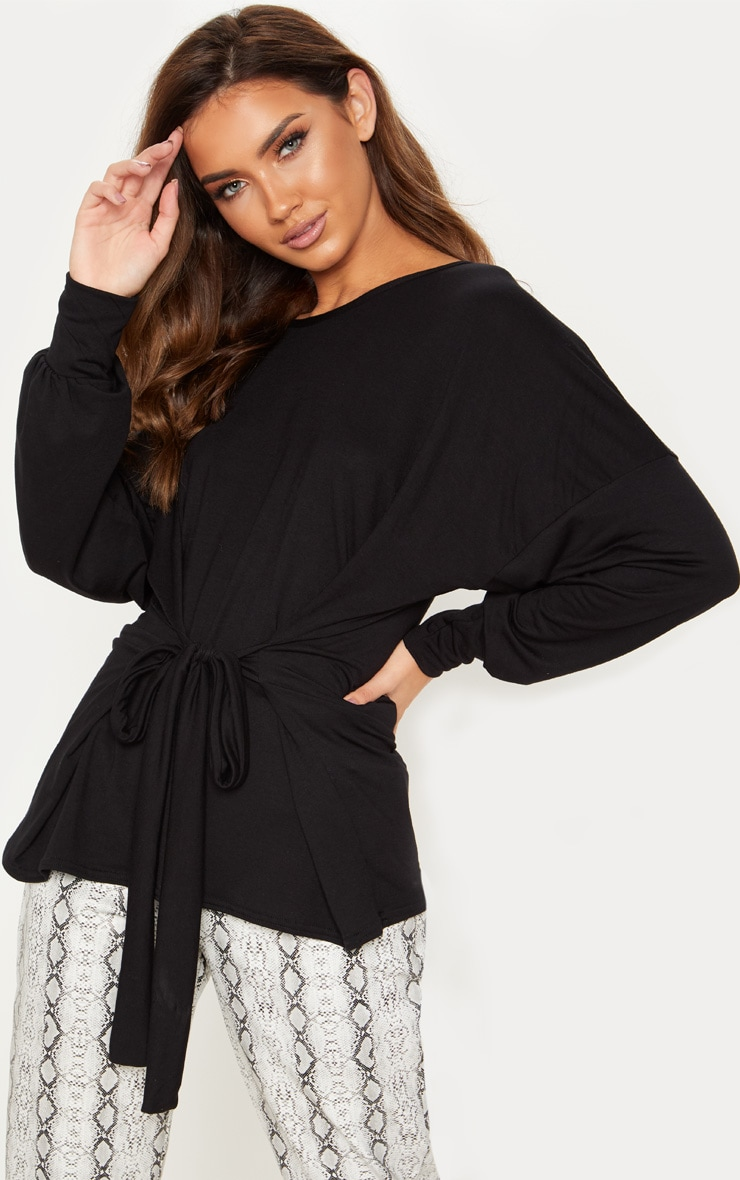 Black Long Sleeve Belted Top 1