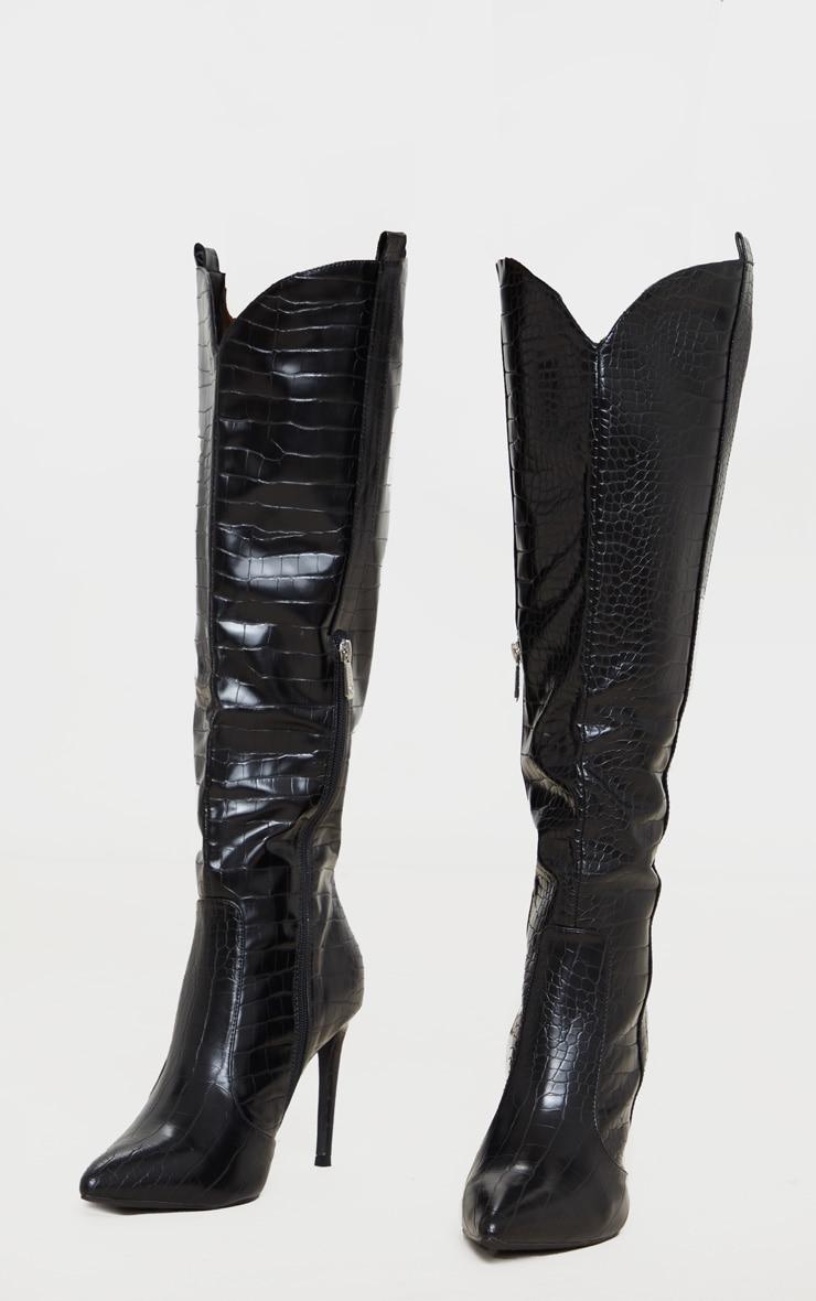 Black Croc PU Stiletto Heel Western Boots 4