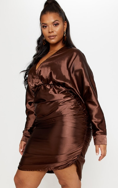 a2334be3 Chocolate Brown Ruched Side Midi Dress PrettyLittleThing Sticker