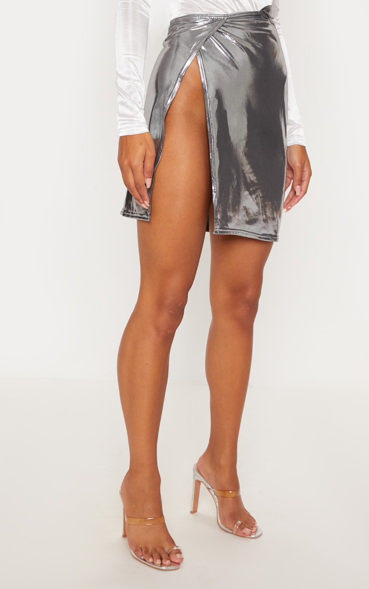 Silver Metallic Cut Out Detail Wrap Skirt 2