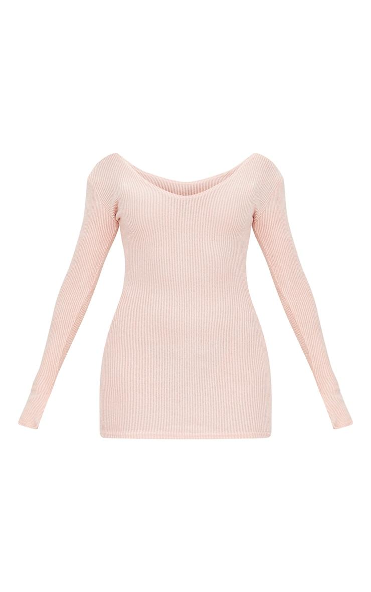 Petite Pink Brushed Rib Split Cuff Bodycon Dress 5