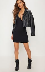 5f25f8ff Basic Black Plunge V Neck T Shirt Dress | PrettyLittleThing