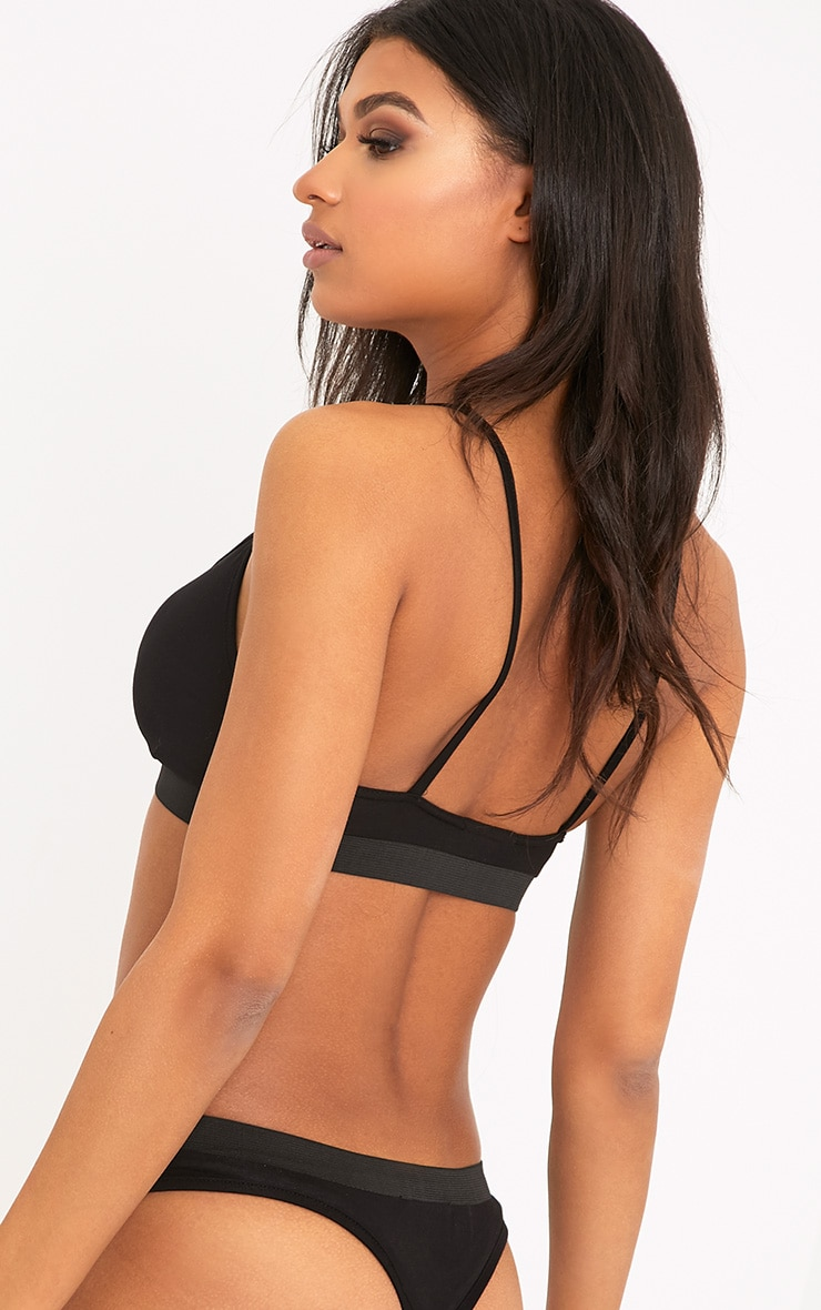 Basic Black Jersey Bra and Panties Set  2