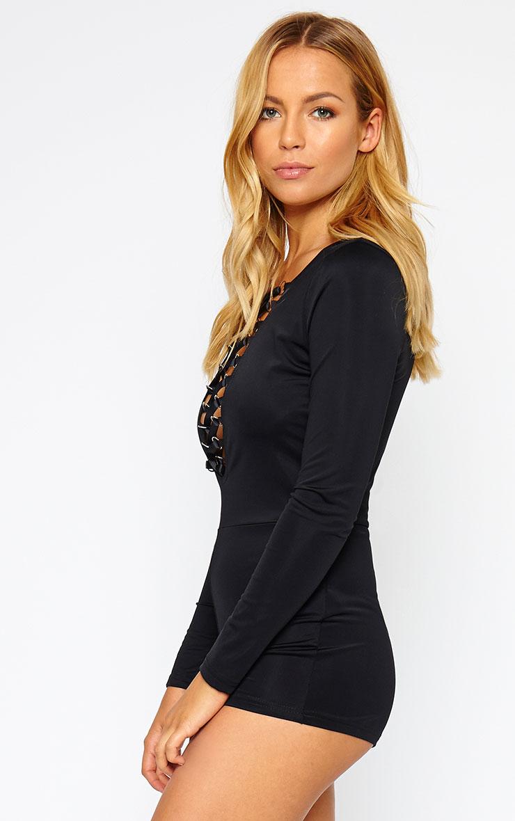 Christelle Black Lace Up Front Playsuit 4