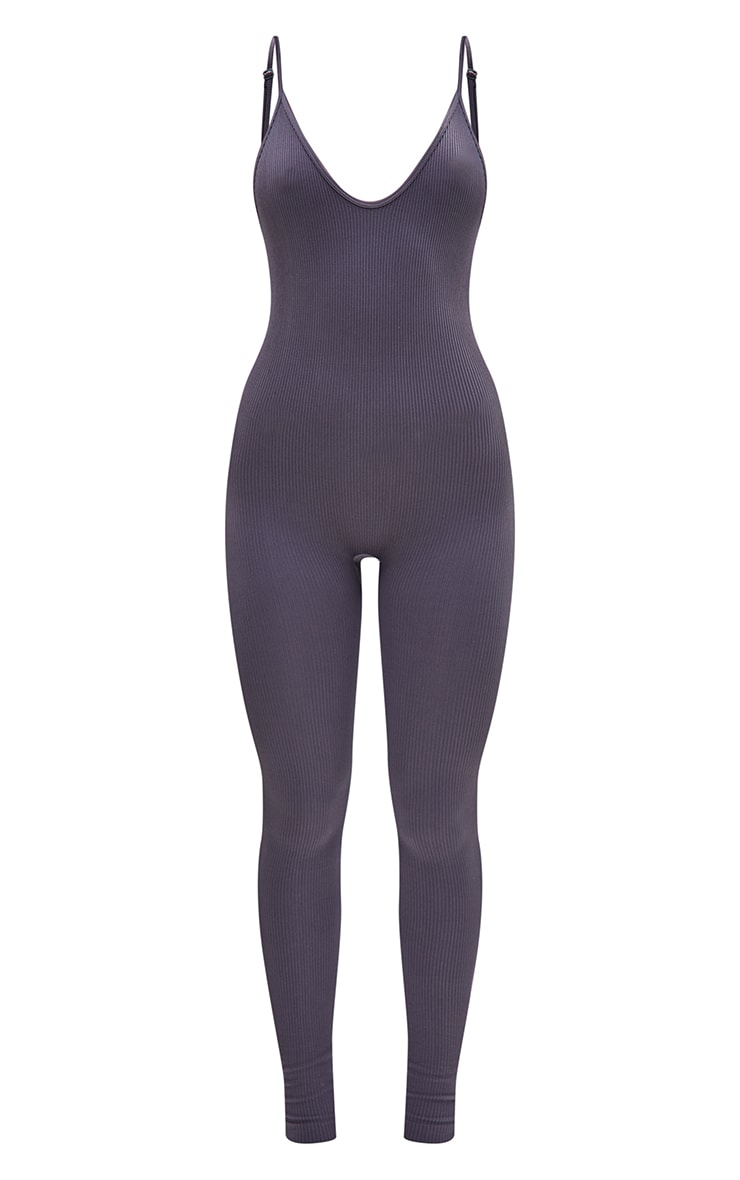 Charcoal Structured Contour Rib Strappy Plunge Jumpsuit 5