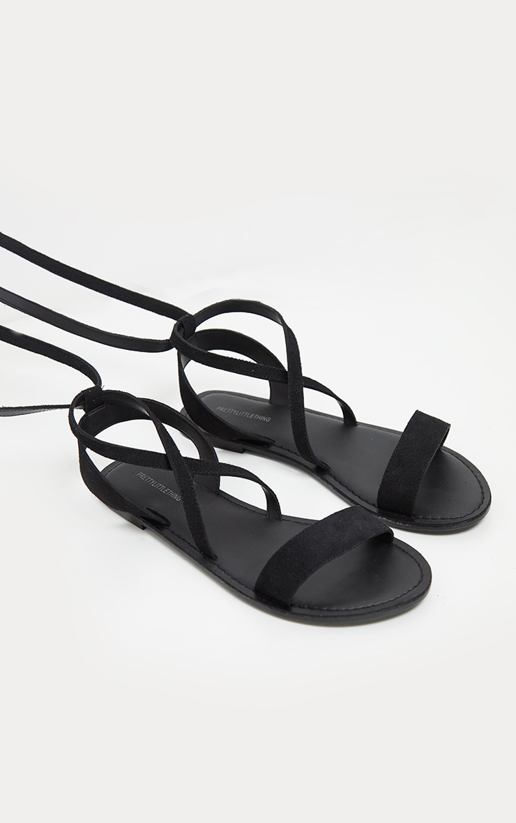 Black Basic Leather Sandal 4