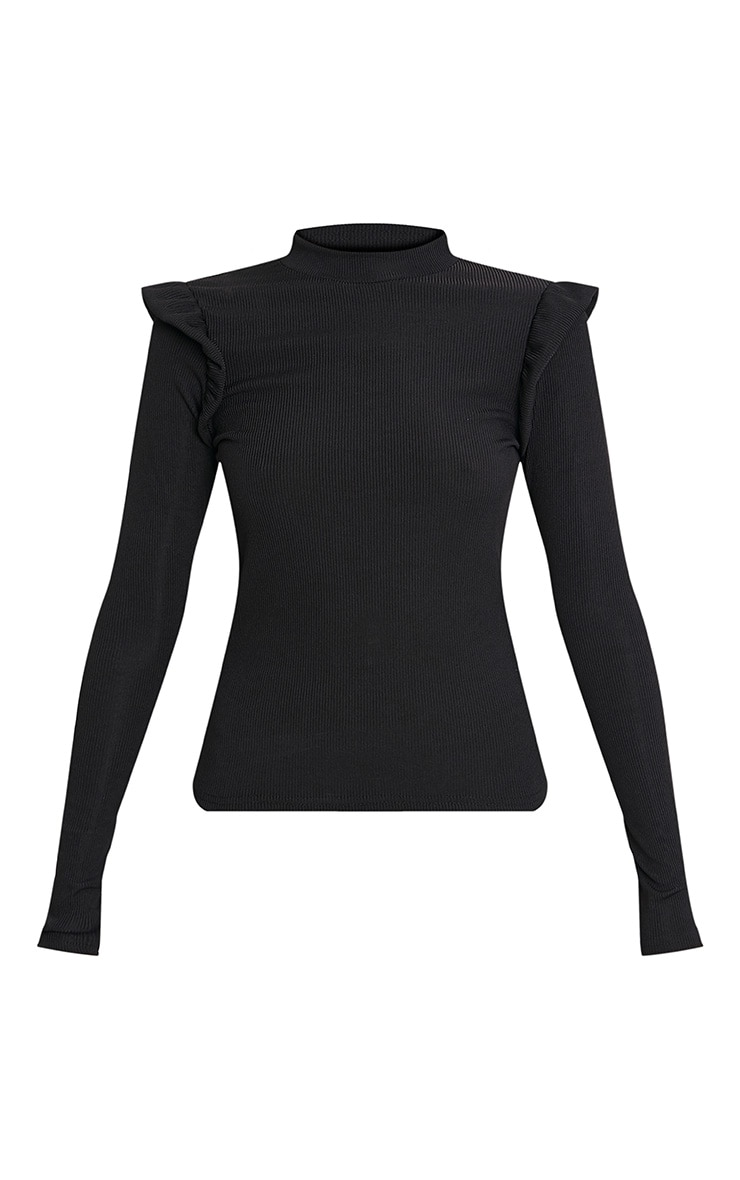 Zooey Black Frill Long Sleeve Top 3