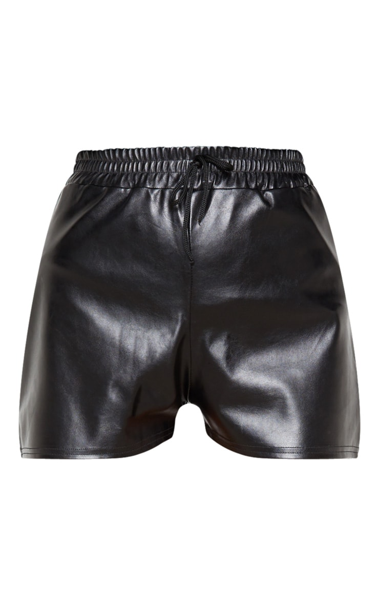Black Faux Leather Runner Shorts 3