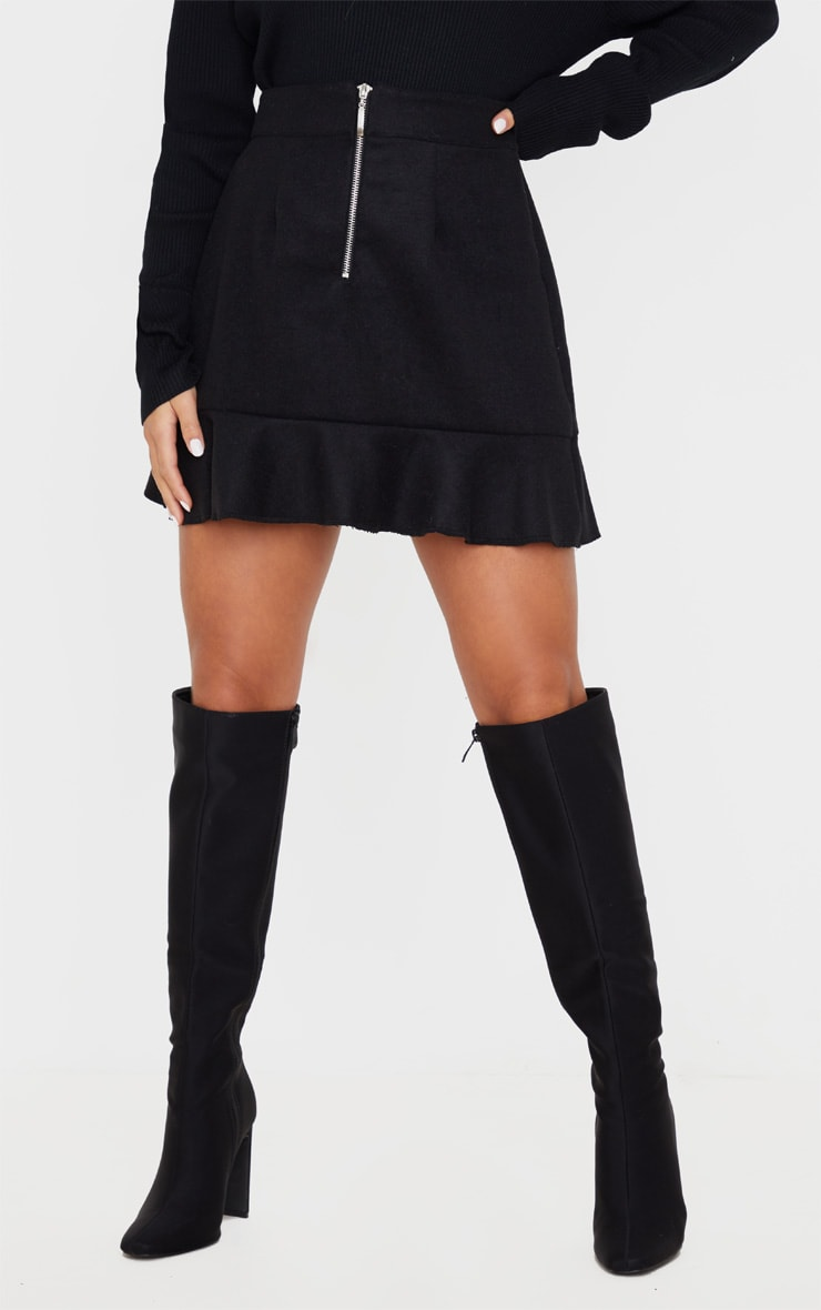 Petite Black Flippy Hem Zip Mini Skirt 2