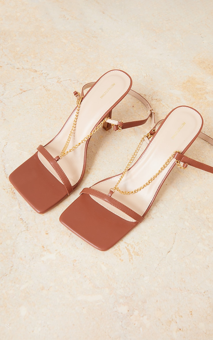 Chocolate PU Chain Detail Strappy Heeled Sandals 3