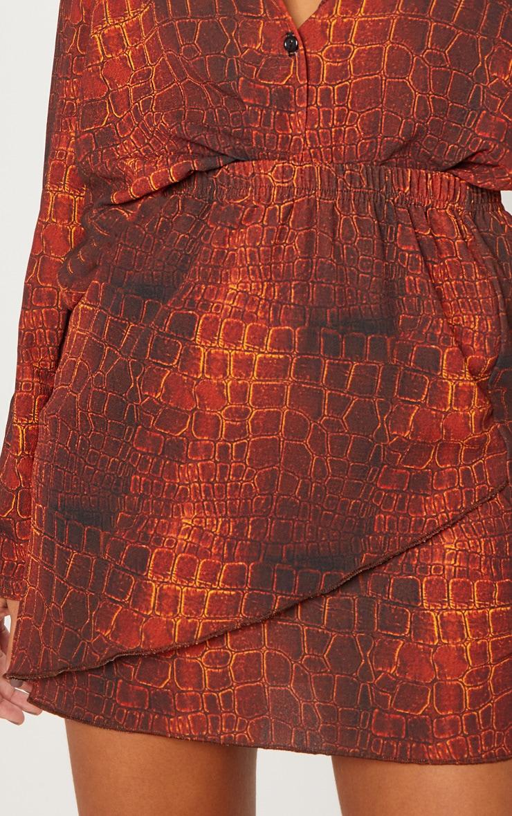 Brown Croc Print Wrap Mini Skirt 6