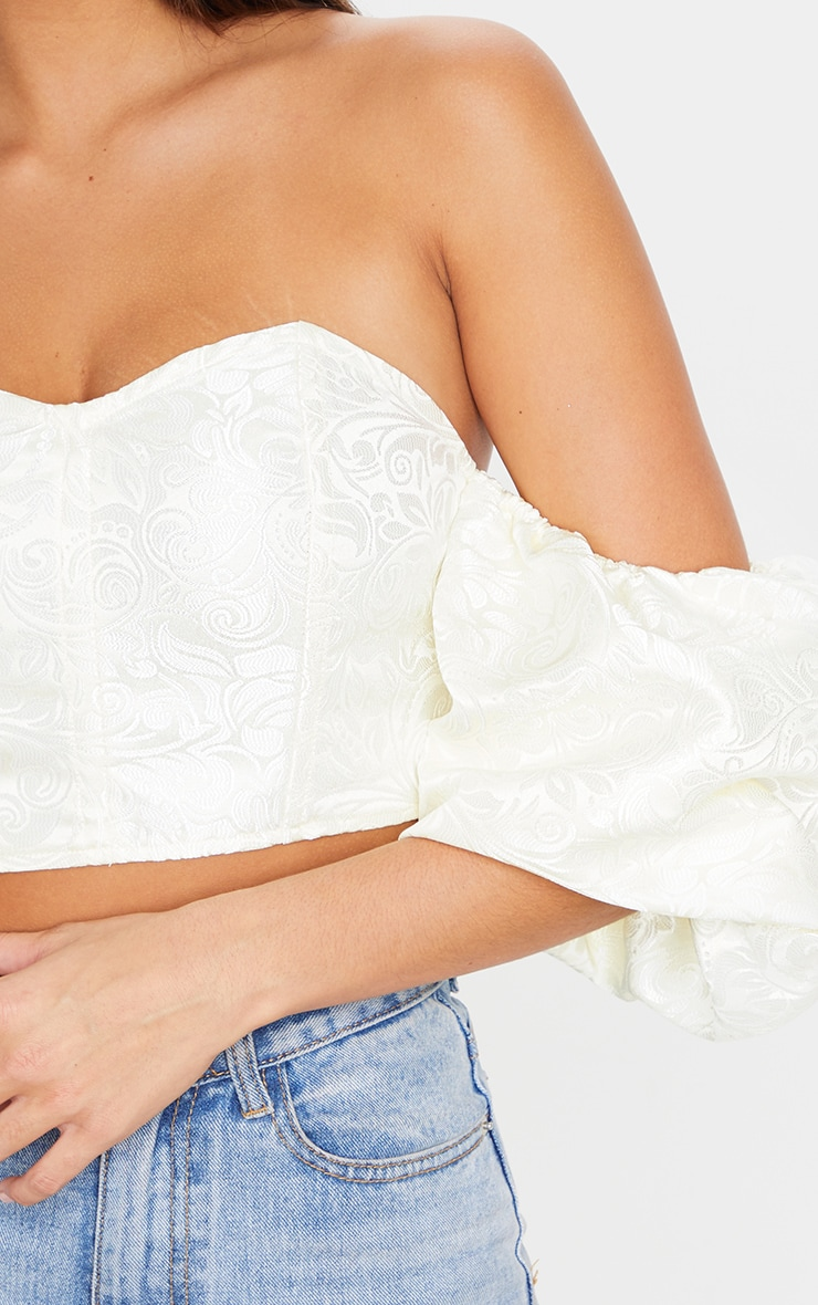 Cream Satin Paisley Puff Sleeve Bardot Crop Top 5