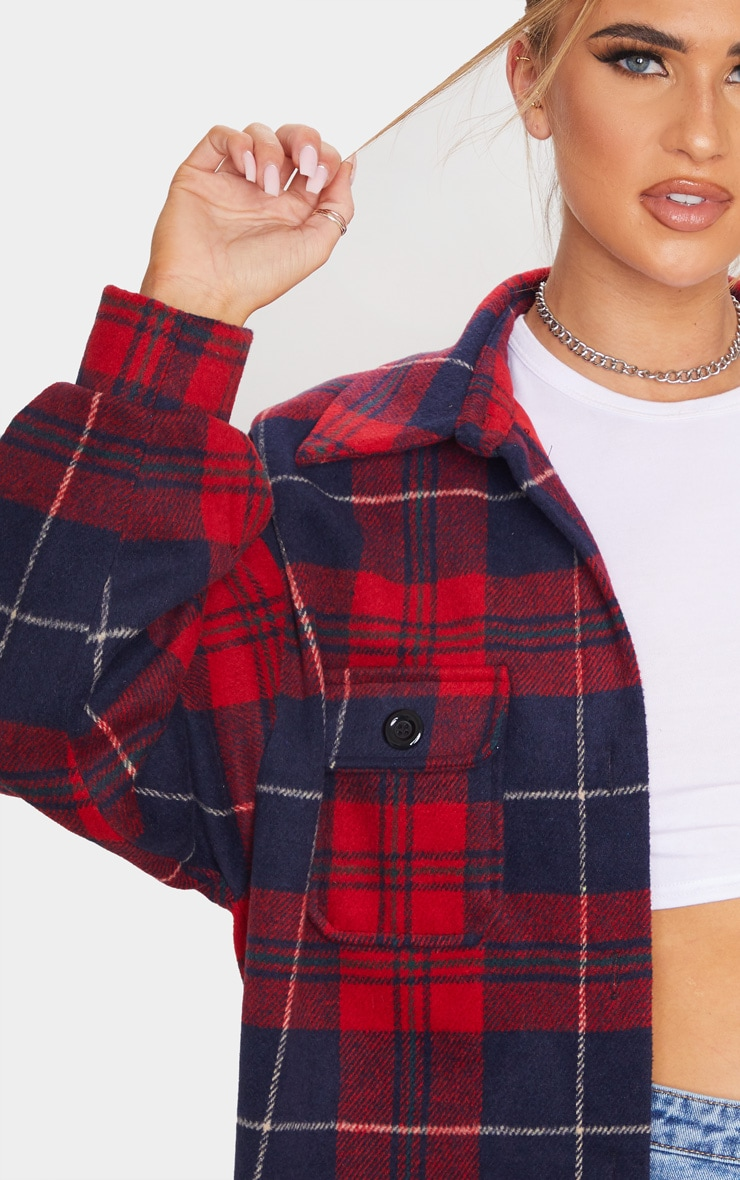 Navy Check Oversized Shacket 5
