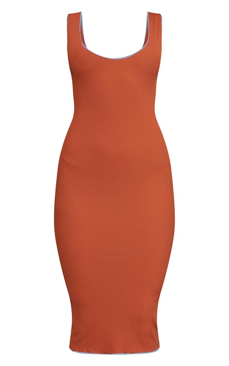 Rust Ribbed Contrast Edge Sleeveless Midi Dress 5