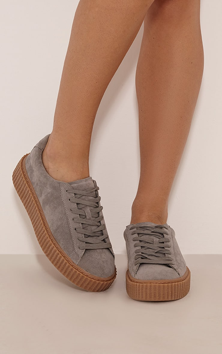 Cia Grey Faux Suede Creeper Trainers 1