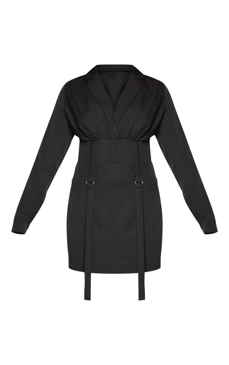 Black Corset Detail Long Sleeve Blazer Style Bodycon Dress 5