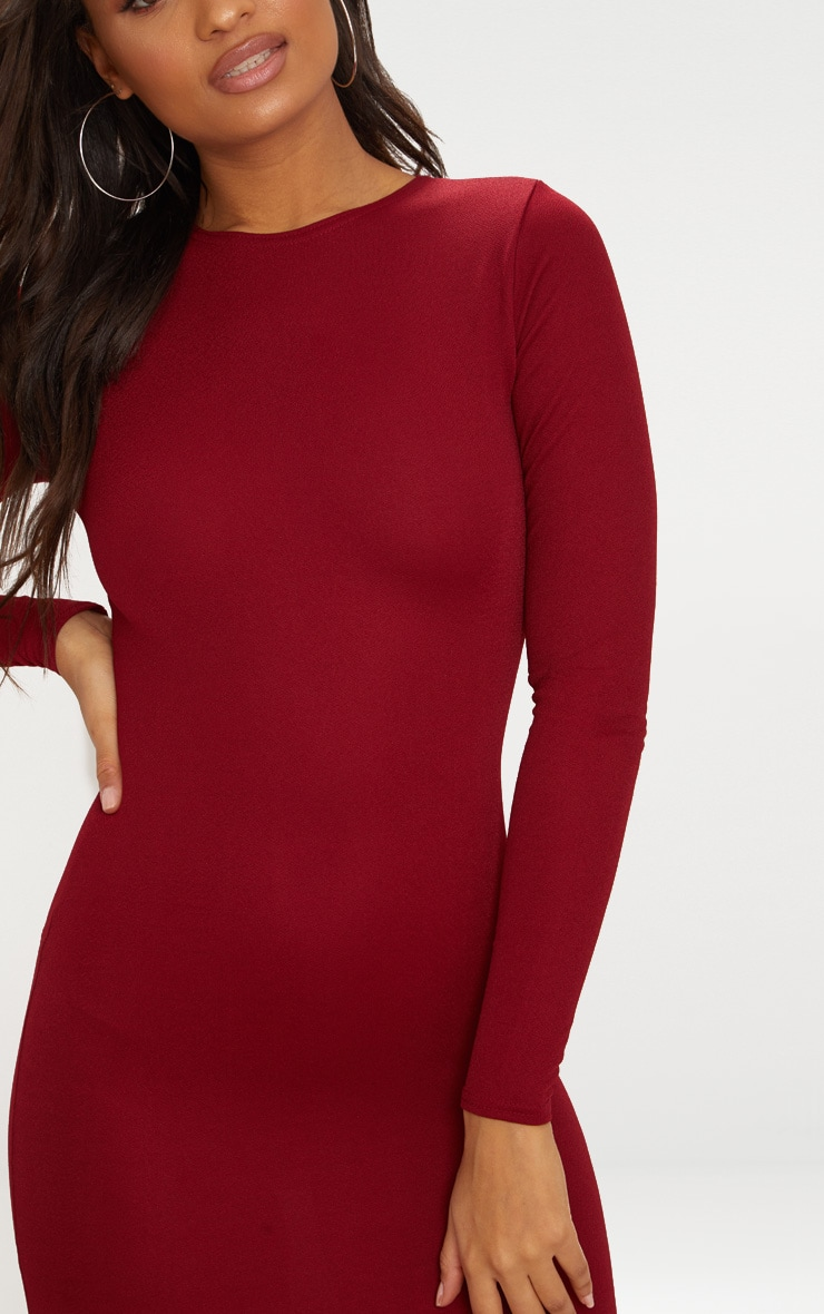 Burgundy Long Sleeve Curved Hem Midi Dress 5