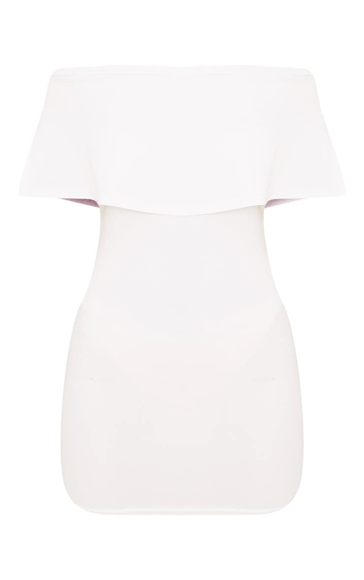 Carley White Bardot Frill Bodycon Dress 3