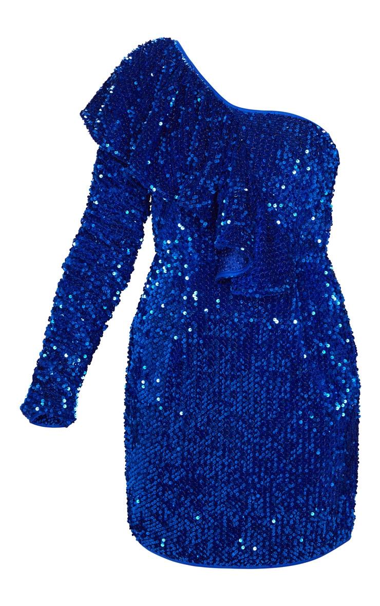 Cobalt Sequin One Shoulder Ruffle Detail Bodycon Dress 3