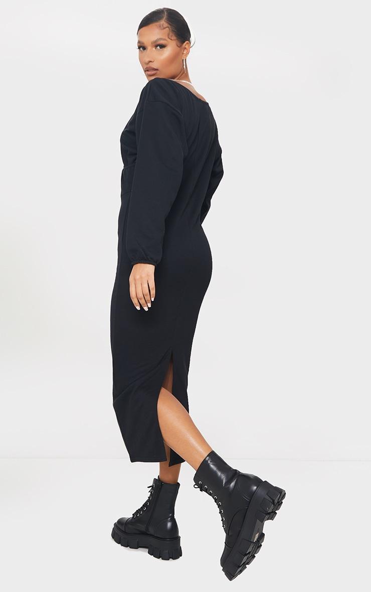 Black V Neck Wide Sleeve Maxi Jumper Dress 2