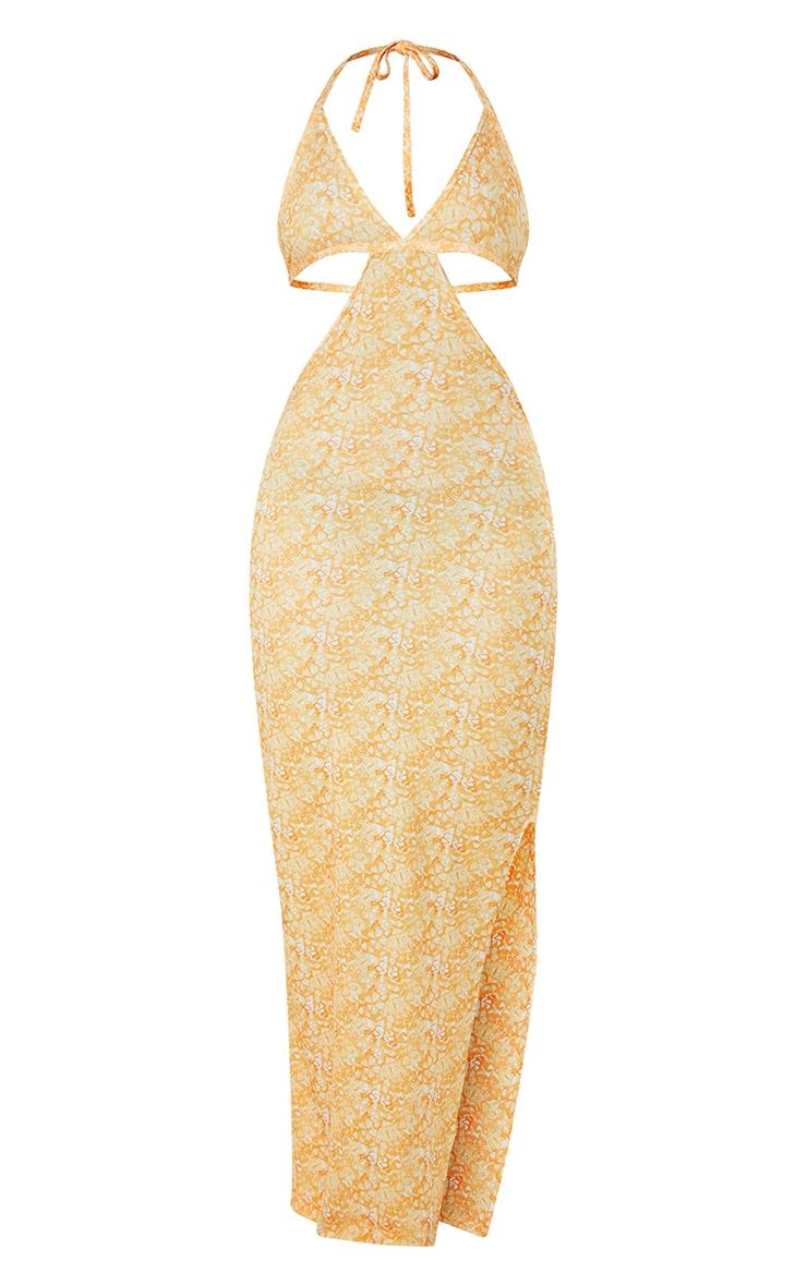 Yellow Butterfly Print Cut Out Halterneck Side Slit Midi Dress 5