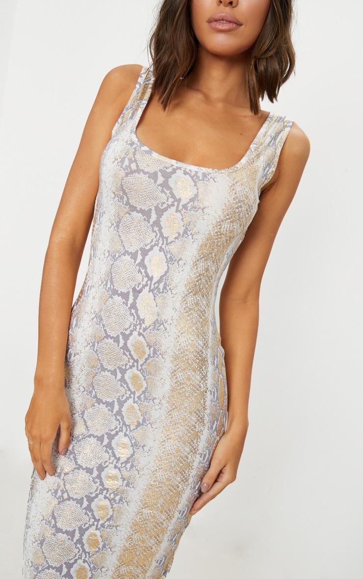 Gold Snake Print Scoop Neck Midaxi Dress 5