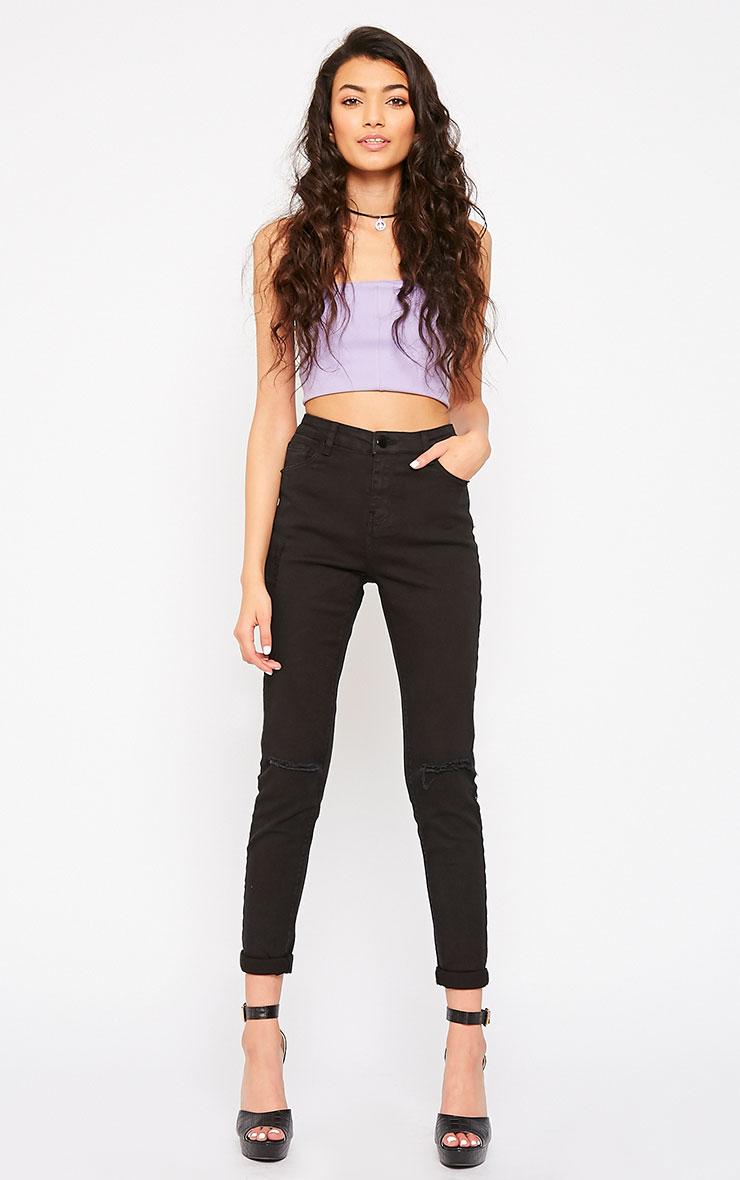 Avyanna Black High Rise Knee Rip Skinny Jeans 1