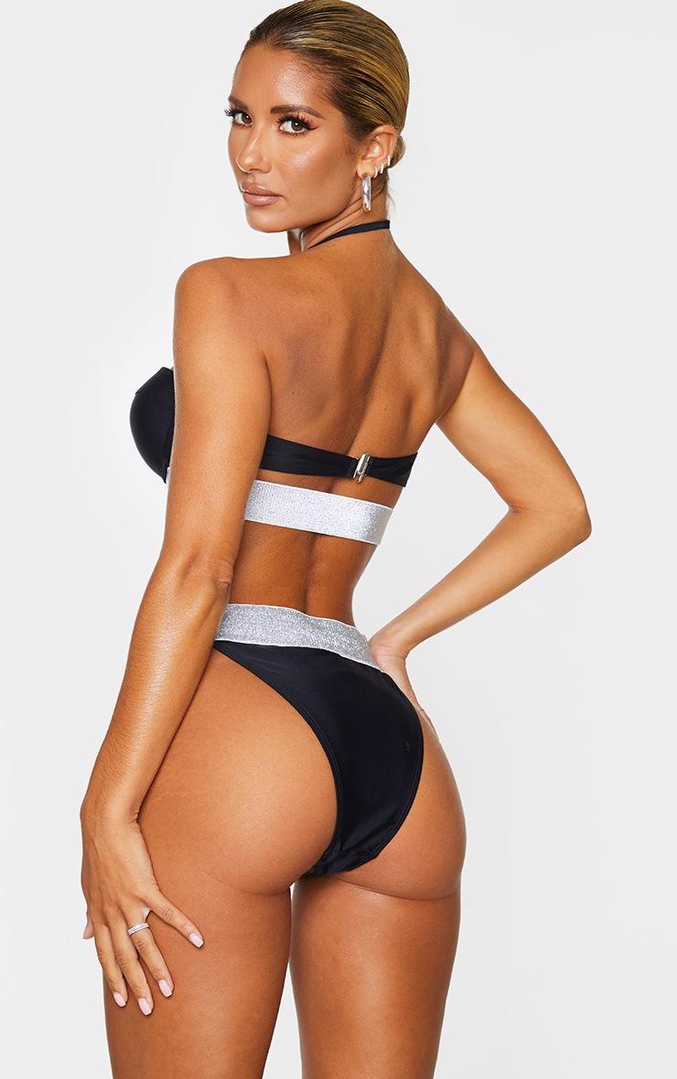 Black Push Up Cupped Glitter Hem Bikini Top 2