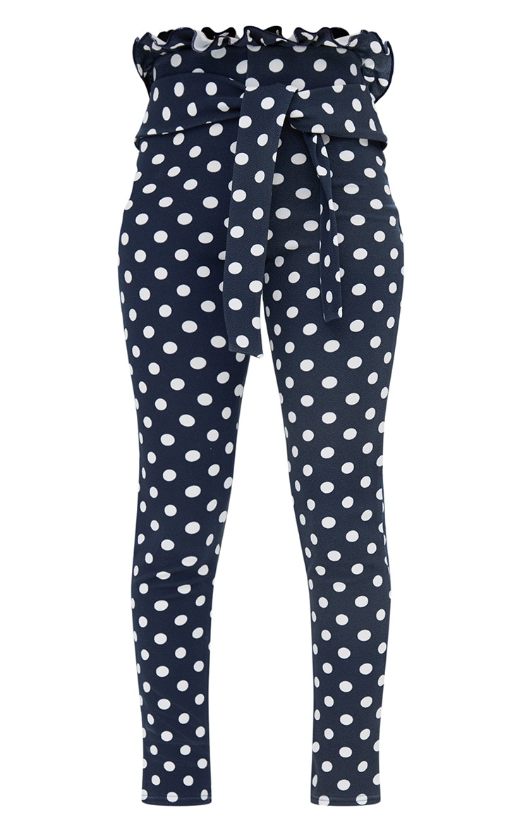 Navy Polka Dot Paperbag Waist Skinny Pants 3