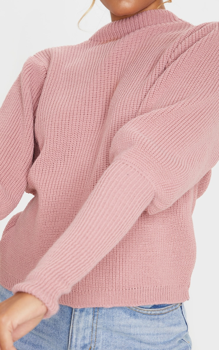 Dusty Pink Puff Sleeve Turtle Neck Jumper 4